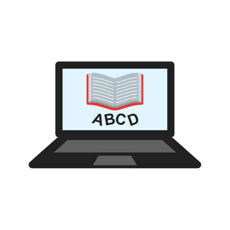 schooling: Online, learning, education icon vector image. Can also be used for schooling. Suitable for use on web apps, mobile apps and print media. Illustration