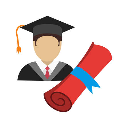 schooling: Graduate, male, university icon vector image. Can also be used for schooling. Suitable for use on web apps, mobile apps and print media.