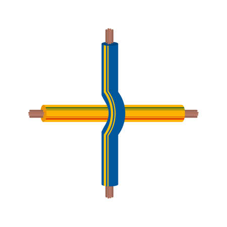 copper wire: Electricity, wire, crossed icon vector image. Can also be used for electric circuits. Suitable for use on web apps, mobile apps and print media.