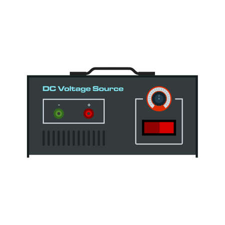 dc: Battery, volt, DC icon vector image. Can also be used for electric circuits. Suitable for use on web apps, mobile apps and print media. Illustration