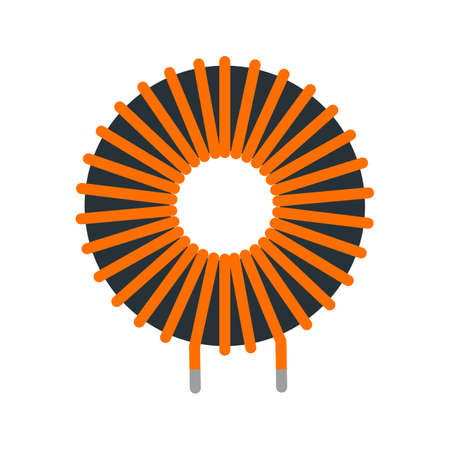 copper wire: Copper, wire, inductor icon vector image. Can also be used for electric circuits. Suitable for use on web apps, mobile apps and print media.