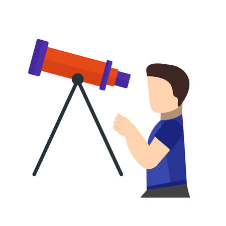 optical image: Telescope, binoculars, optical instrument icon vector image. Can also be used for astronomy. Suitable for web apps, mobile apps and print media. Illustration