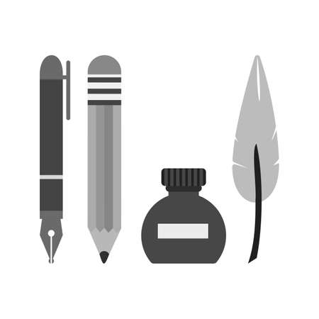 writing equipment: Pen, equipment, school icon vector image. Can also be used for schooling. Suitable for use on web apps, mobile apps and print media.