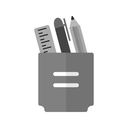 pencil holder: Stationery, holder, pencil icon vector image. Illustration
