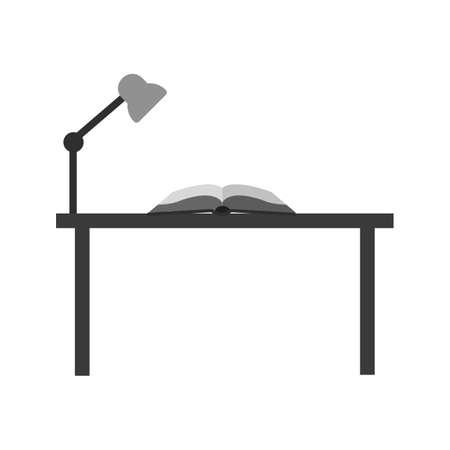 study desk: Study, desk, studying icon vector image. Illustration