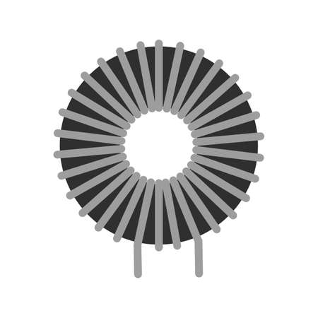 inductor: Copper, wire, inductor icon vector image.