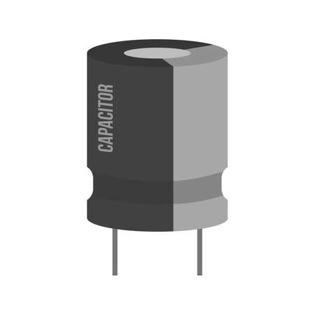 electrolytic: Capacitor, chip, electronic icon vector image. Can also be used for electric circuits. Suitable for use on web apps, mobile apps and print media.