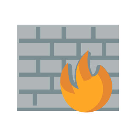 firewall protection: Firewall, protection, secure icon vector image.Can also be used for security. Suitable for mobile apps, web apps and print media.