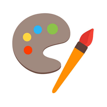 pallete: Color, paint, pallete icon vector image. Can also be used for stationery. Suitable for use on web apps, mobile apps and print media. Illustration