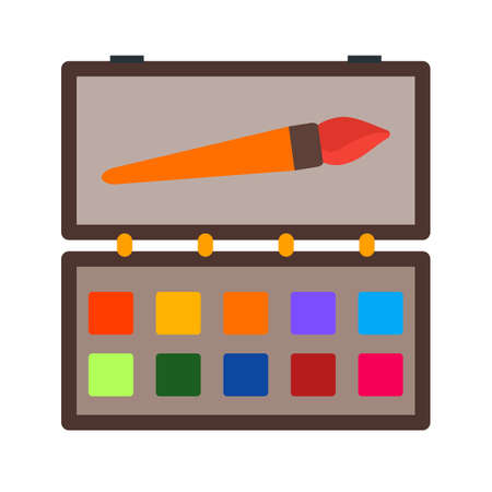 paintbox: Box, colour, drawing icon vector image. Can also be used for stationery. Suitable for use on web apps, mobile apps and print media.