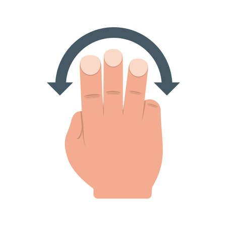 three points: Hand, slide, rotate icon vector image.Can also be used for user touch gestures. Suitable for mobile apps, web apps and print media. Illustration