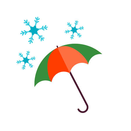 winter season: Snow, umbrella, winter icon vector image. Can also be used for winter. Suitable for use on web apps, mobile apps and print media. Illustration