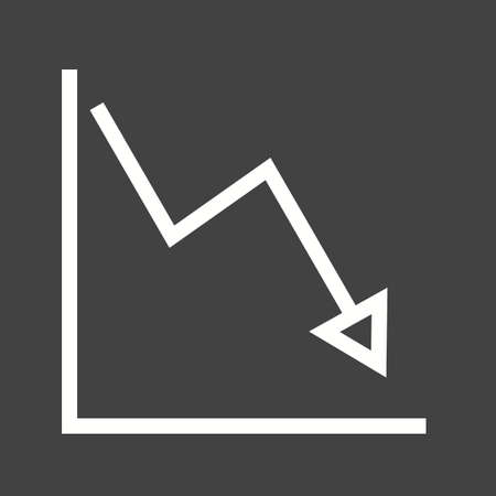 decline: Graph, down, decline icon vector image. Can also be used for infographics. Suitable for use on web apps, mobile apps and print media.