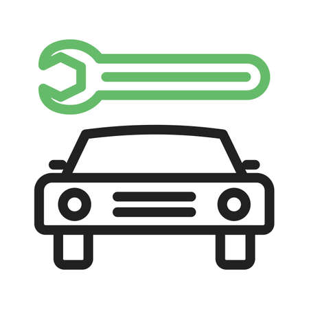servicing: Car, mechanic, repair icon vector image. Can also be used for car servicing. Suitable for use on web apps, mobile apps and print media. Illustration