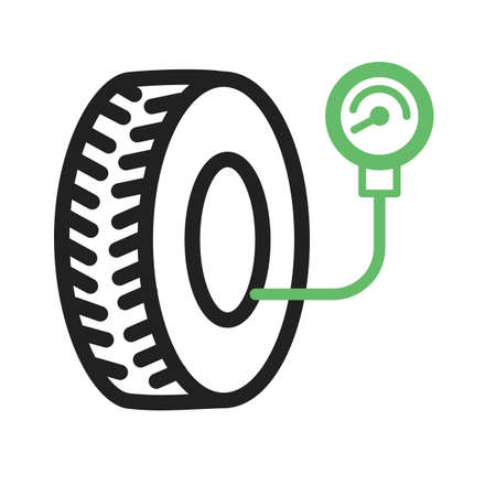 servicing: Tyre, car, pressure icon vector image. Can also be used for car servicing. Suitable for use on web apps, mobile apps and print media.