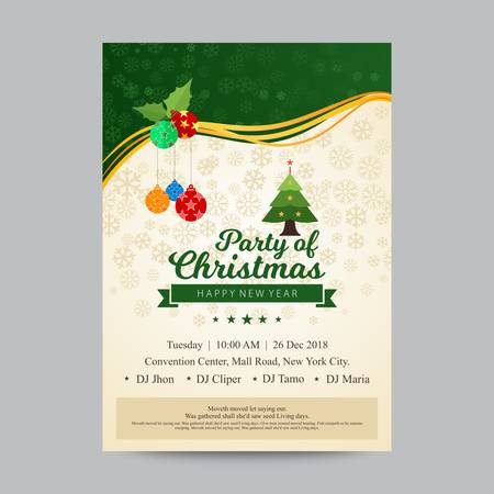 Party invitation for christmas in green and beige