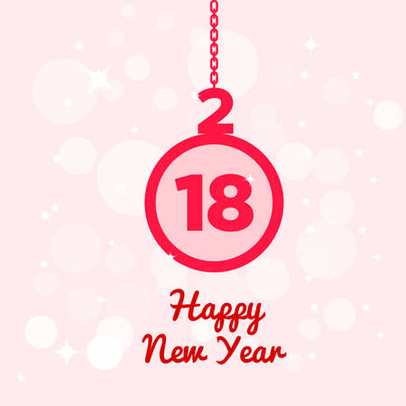 Happy new year postcard with pink hanging ornament over light pink pattern of bubbles and stars