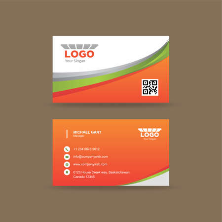 Professional orange and white business card