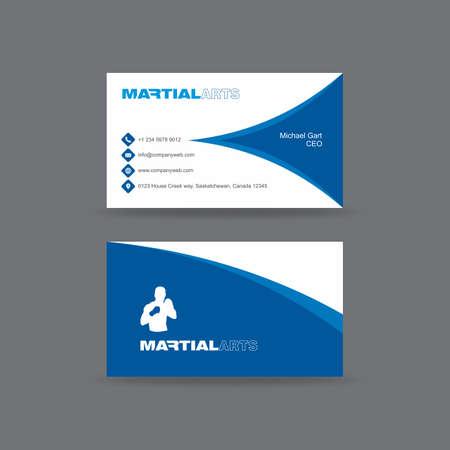 青と白の格闘技ビジネス カード  イラスト・ベクター素材