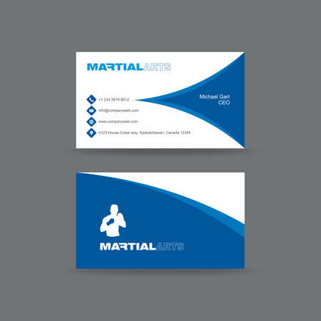 Blue and white martial arts business card
