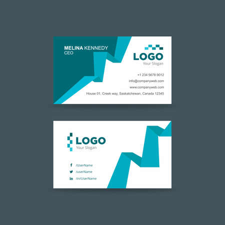 Corporate business card in blue and white Illustration