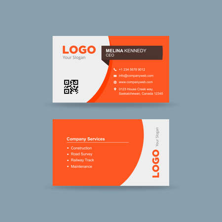Business card in orange and white