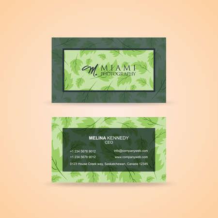 緑豊かな緑の創造的な名刺  イラスト・ベクター素材
