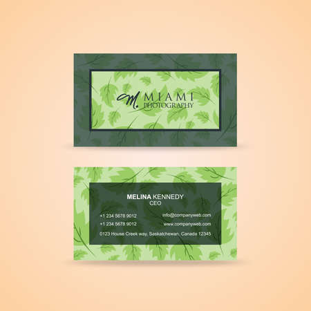 Leafy green creative business card Illustration