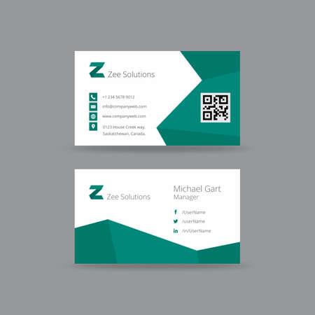ジグザグ線でティールと白のビジネス カード  イラスト・ベクター素材