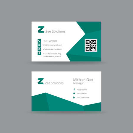 Teal and white business card with zigzag borders