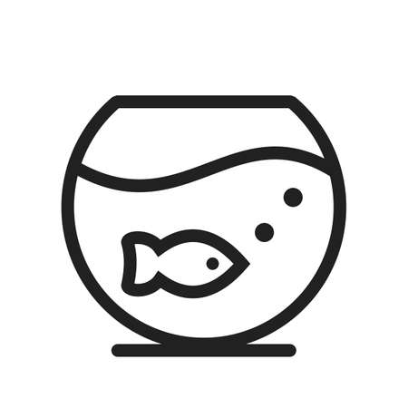Bowl, fish, goldfish icon vector image. Can also be used for household objects. Suitable for use on web apps, mobile apps and print media. Illustration