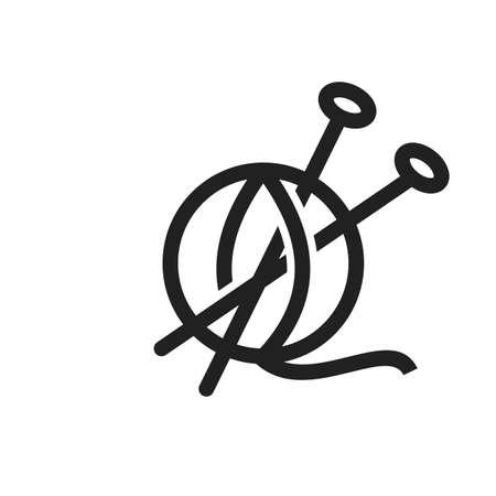 Wolle, weich, Handwerksikonen-Vektorbild. Kann auch für Haushaltsgegenstände verwendet werden. Geeignet für den Einsatz in Web-Apps, mobilen Apps und Printmedien. Standard-Bild - 90359699