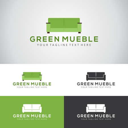 家具メーカーやインテリアデザイン会社のためのソファセットと緑のミューブルロゴデザイン  イラスト・ベクター素材