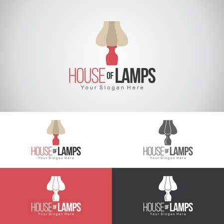 ランプメーカーやインテリアデザイン会社のための寝室ランプとランプのロゴデザインの家