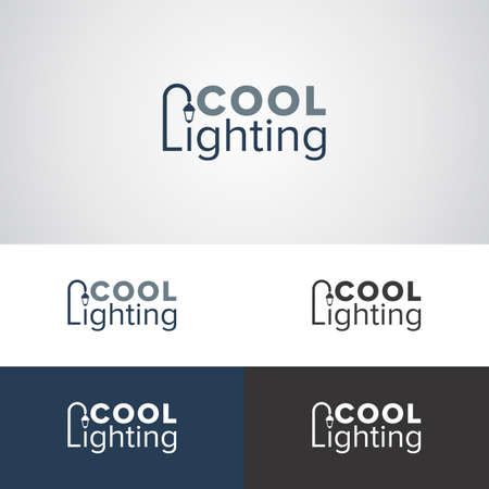 Cool lighting logo design with street lamp for lighting manufacturers or companies  イラスト・ベクター素材