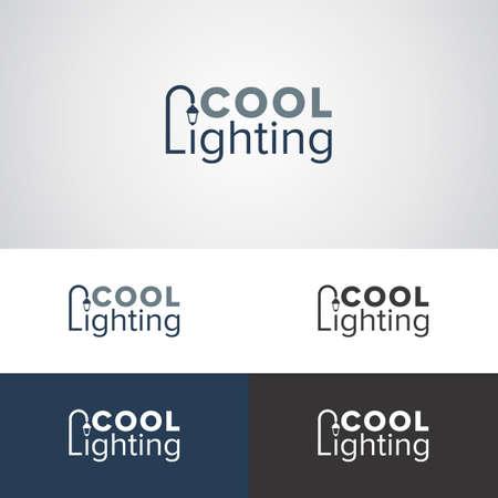 Koel verlichtingslogoontwerp met straatlantaarn voor verlichtingsfabrikanten of bedrijven Stock Illustratie