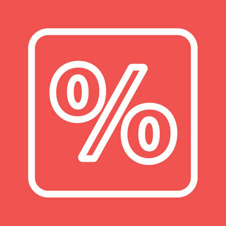 Percentage sign icon, in white line illustration, isolated on red background