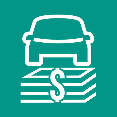 Auto Financing icon in white line illustration, isolated on green background