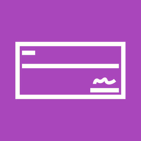 Signed cheque icon on violet background, vector illustration.