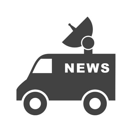 News, van, television icon vector image. Can also be used for news and media. Suitable for mobile apps, web apps and print media. Çizim
