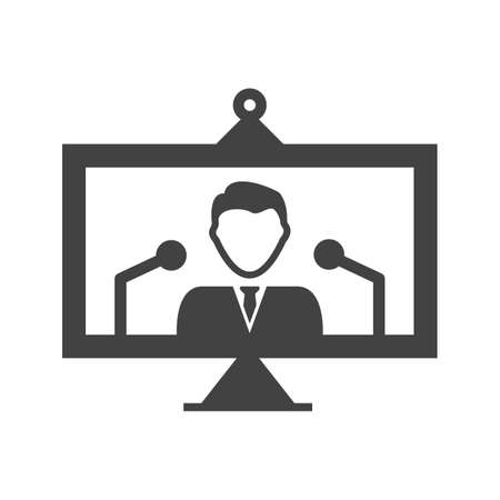 Online, conference, press icon vector image. Can also be used for news and media. Suitable for mobile apps, web apps and print media. Illustration