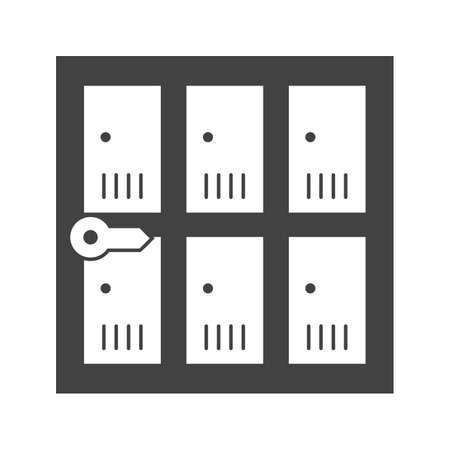 ロッカー、安全性、セキュリティのアイコン ベクトル画像。空港の使用もできます。Web アプリ、携帯アプリ、印刷メディアに適しています。  イラスト・ベクター素材