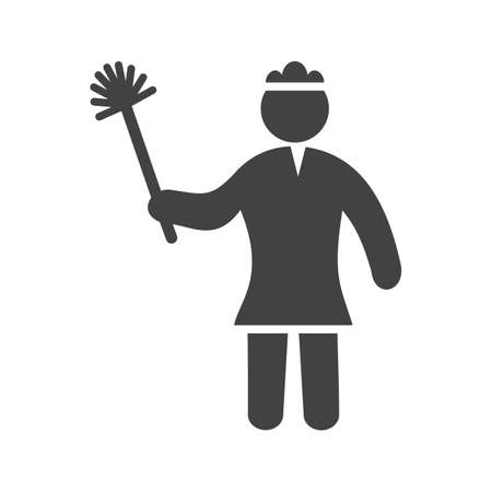 Dusting, woman, house icon vector image. Can also be used for Cleaning Services. Suitable for web apps, mobile apps and print media. Illustration