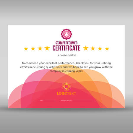 Abstract creative pink star performer certificate Illustration