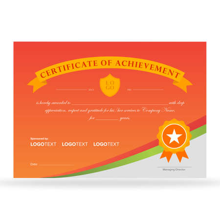Certificate of achievement with colorful background gold ribbon and award badge ready for printing
