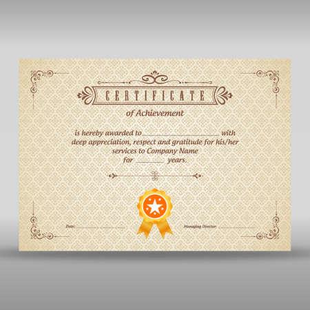 Vintage beige certificate of achievement
