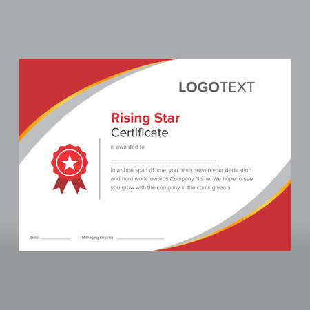 Rising star certificate having red and grey corners and red award badge suitable for printing. Illustration