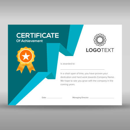 Certificate of achievement having geometric blue print ready design on left side and golden star badge. Illustration