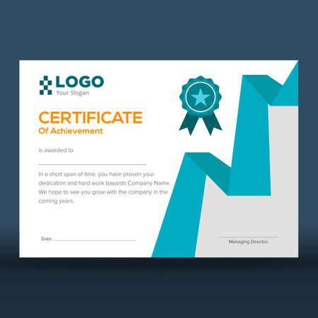 Certificate of achievement print ready design in modern blue and white with grey border Illustration