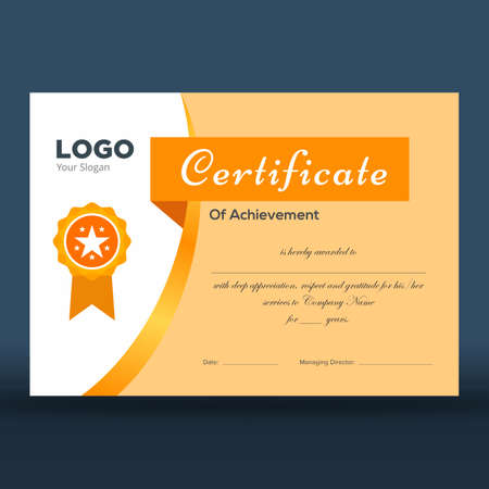 Certificate of achievement in elegant gold and white design and golden badge ready for print Illustration
